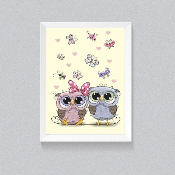 reducere poster dekorativ camera copii bufnite fluturi, tablou colorat