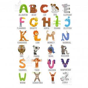 TABLOU educativ pentru copii – Alfabet cu Animale – Limba Engleză