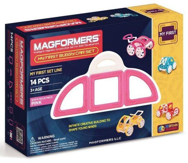 magformers, masina roz, joc magnetic fete, rorti, callitate, magnetic, 14 buc, constructie, scoala, gradinita, reducere
