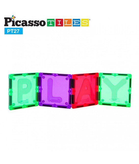Set PicassoTiles Alfabet - 27 Piese Magnetice De Construcție Colorate,piese magnetice cu litere, jocuri magnetice educative, jocuri pocasso tiles