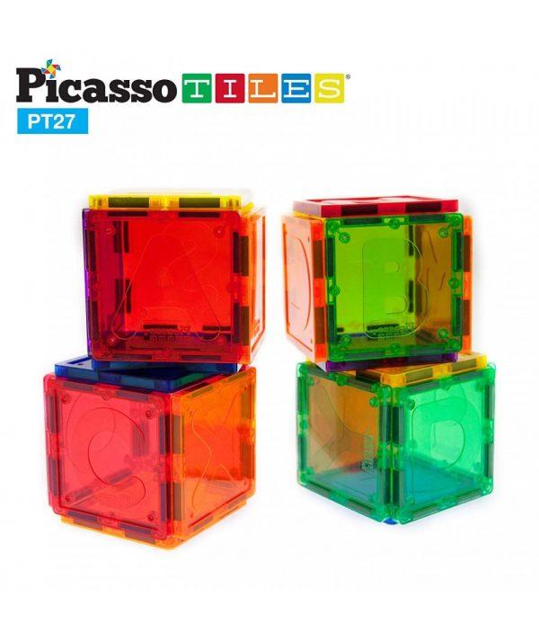 Set PicassoTiles Alfabet - 27 Piese Magnetice De Construcție Colorate, jocuri magnetice, puzzle magnetic, magna titles, litere magnetice, joc magnetic alfabet