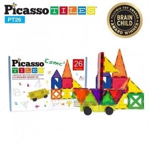 Set PicassoTiles Inspirațional – 26 Piese Magnetice De Construcție Colorate – 9 Forme Diferite