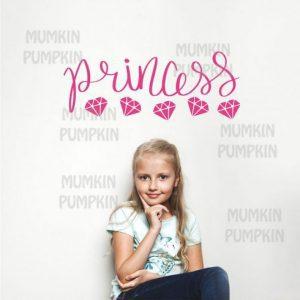 STICKER de perete cu diamante și mesaj Princess (culoare roz)