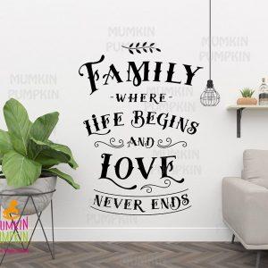 STICKER de perete cu mesaj – Family/Where live begins and Love Never Ends (scris negru)