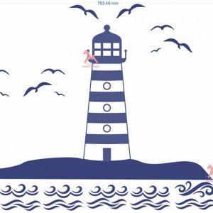 STICKER de perete pentru copii – farul de pe mare (albastru inchis)