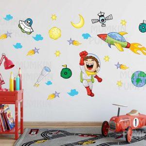 STICKER educativ copii – Astronaut, Rachetă și Cosmos
