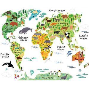 STICKER educativ pentru copii – Harta animată a lumii cu animale