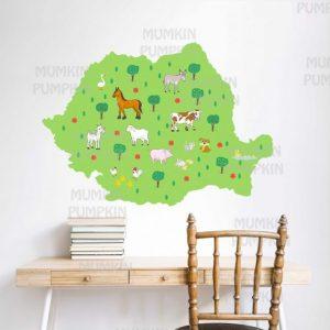 STICKER educativ pentru copii – Harta României cu Animale Domestice