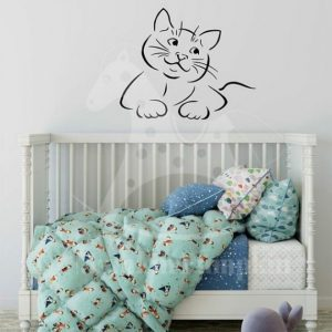 STICKER pentru copii cu Pisicuță (pe negru)