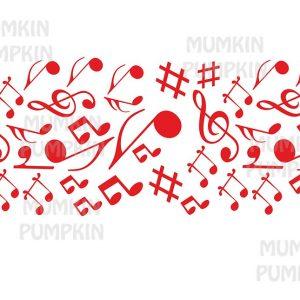 STICKER de perete cu model tapet Note Muzicale (roșu)