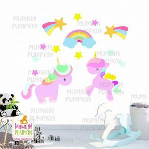 STICKER pentru copii cu Unicorni și Stele
