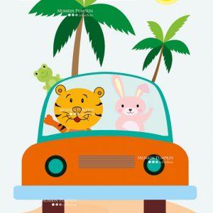 TABLOU pentru copii – animale în mașină_2