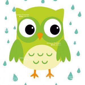 TABLOU pentru copii – bufnița verde
