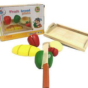 Set legume de tăiat din lemn cu arici, cuțit si tavă – 7 piese