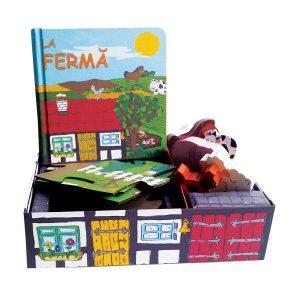 La fermă – set cu puzzle, figurine, carte