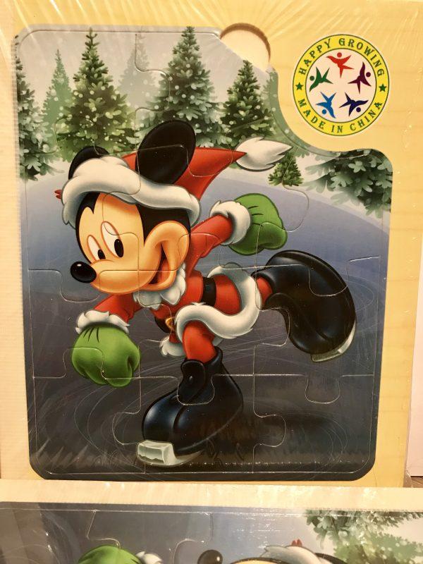Carte Puzzle Din Lemn - Mickey, puzzle lemn, puzzle carte copii, puzzle disney, carte lemn, joc educativ, personaje desene animate, reducere