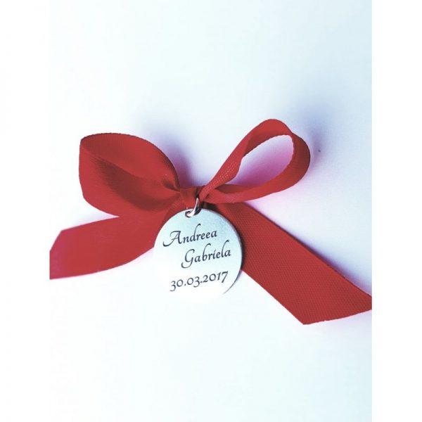 BANUȚ GRAVAT PENTRU MOȚ, 22MM, ARGINT 925, cadou copil un an, banut argint personalizat, idee de cadou copii