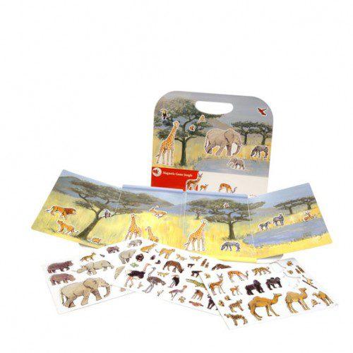 Animale din junglă - set magnetic, joc educativ, joc carte animale, animale magetice