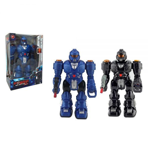 Robot Trasformabil Power Mach - Albastru, robot sunete, robot mitraliera, robot interactiv copii