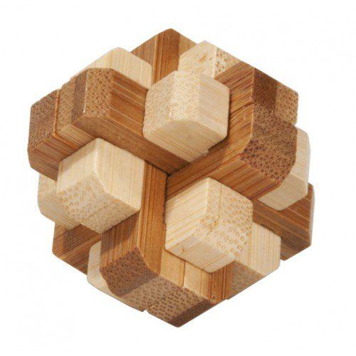 Joc Logic IQ din Lemn Bambus în Cutie Metalică, Fridolin Germania, joc logic, joc educativ, joc copii