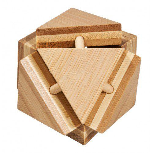 Joc Logic IQ din Lemn Bambus - Triangleblock, Fridolin Germania, joc logic cub, joc strategie, joc logic, joc inteligenta