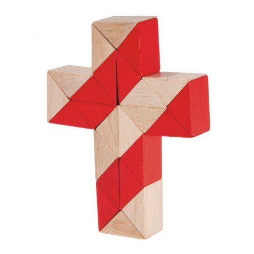 Joc Logic - Șarpe Natur (roșu), Fridolin Germania, , joc logic, joc sarpe lemn, joc waldorf, joc montessori