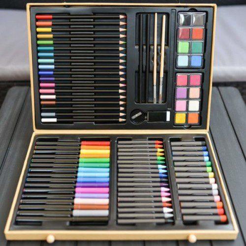 Marea cutie cu culori Djeco, set de colorat, cutie mare cu creiane, set pictura copii, cutie lemn culori, creioane grafit, set colorat djeco, copii art, bebelind