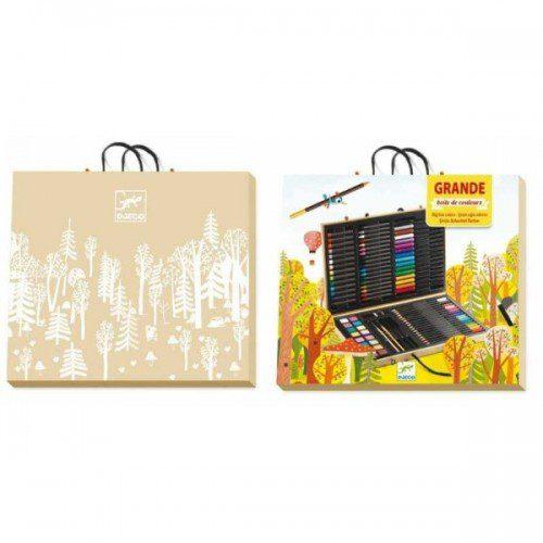 Marea cutie cu culori Djeco, set de colorat, cutie mare cu creiane, set pictura copii, cutie lemn culori, creioane grafit, set colorat djeco, copii art