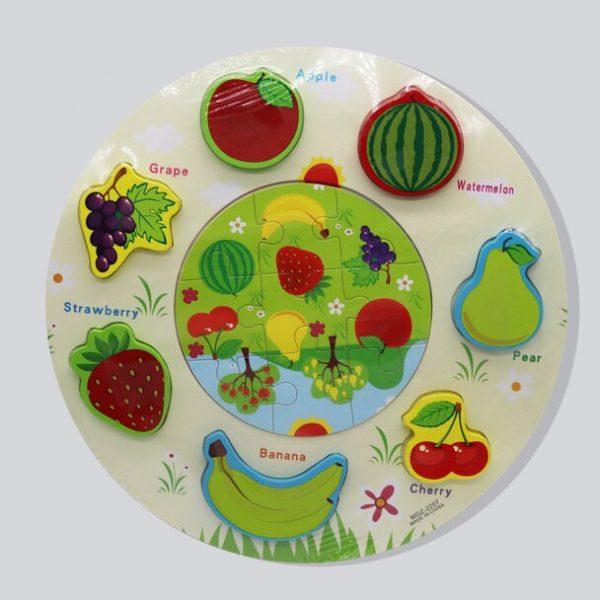 Puzzle Educativ Dublu - Fructe, puzzle fructe incastru, fructe lemn, puzzle educativ copii