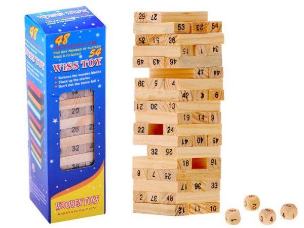 Jenga - Joc Educativ din Lemn, joc lemn logica, joc 54 piese, joc turn, bebelind