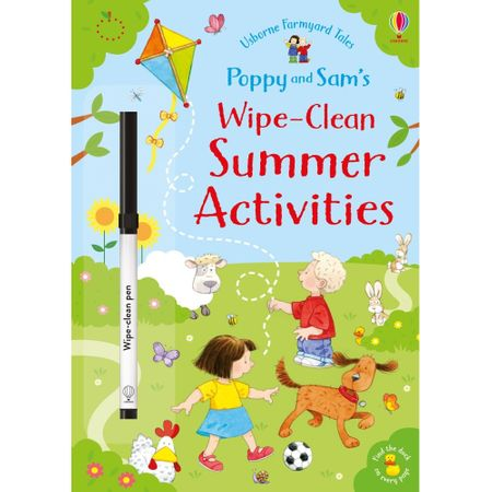 Poppy and Sam, carti usborne, wipe and clean activities, scrie si sterge, carte cu carioca, carte activitati, montessori, carte educativa, bebelind