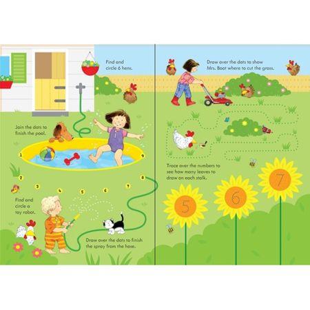 Poppy-and-Sam's-wipe-clean-summer-activities, carti usborne, carte activitati, scrie si sterge