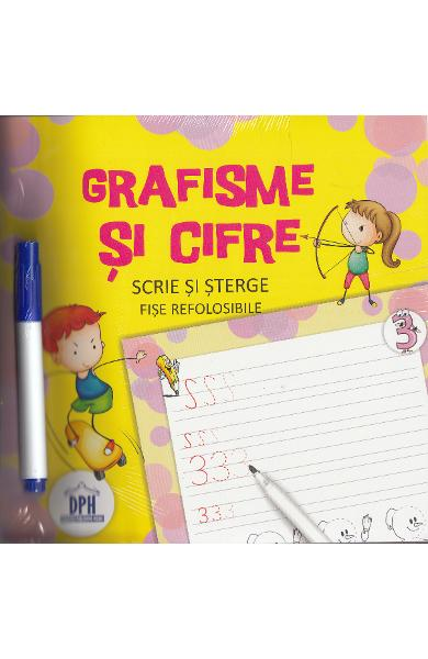 Scrie si sterge: Grafisme si cifre, Fise refolosibile, dph, invata sa scrii grafisme, scrie si sterge, caiet educativ copii,Didactica Publishing House, oferte back to school