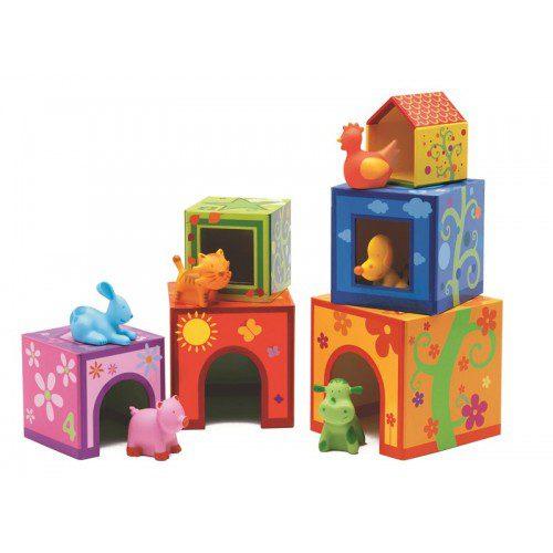 Topanifarm, Djeco, cuburi bebe, cuburi copii, cuburi boribon, cuburi cu animale, cuburi franta