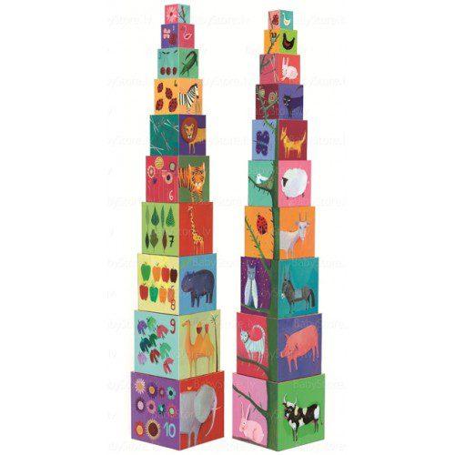 Turn de construit Djeco Natura, cuburi un an, set zece cuburi copii, Djeco, cuburi bebe, cuburi copii, cuburi boribon, cuburi cu animale, cuburi franta