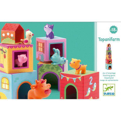 Topanifarm, Djeco, cuburi bebe, cuburi copii, cuburi boribon, cuburi cu animale, cuburi franta, bebelind