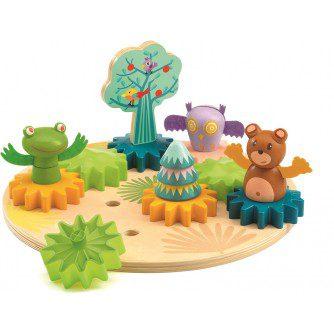 Woodytwist Djeco, gradina din lemn bebe, joc roti dintate, jocuri educative copii, jocuri logice, joc educativ