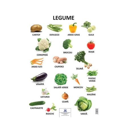Plansa legume, planse educative copii, dph, legume din Romania, legume gradina, planse copii