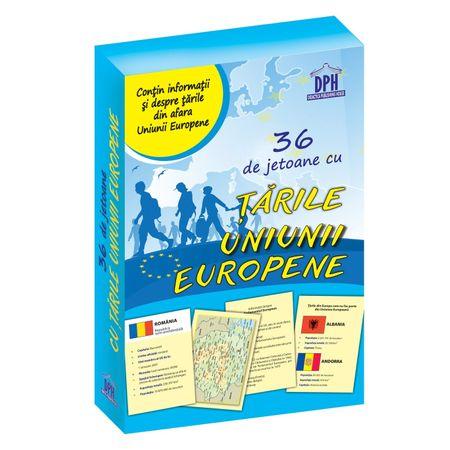 36 de jetoane cu tarile Uniunii Europene, carti de joc cu tari, informatii despre europa, tarile uniunii europene pentru copii, jocuri educative, dph