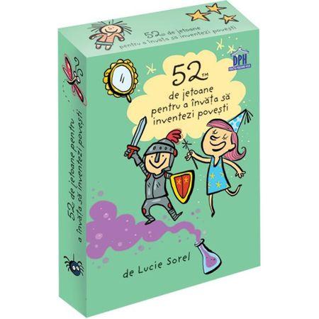 52 jetoane pentru a invata sa inventezi povesti, Lucie Sorel, jetoane povesti, printul broscoi, castelul curcubeu, puricele cel faimos, jetoane copii, dph