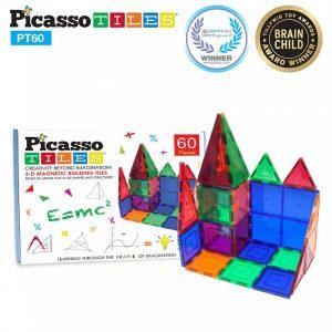 Set PicassoTiles – 60 Piese Magnetice De Construcție Colorate