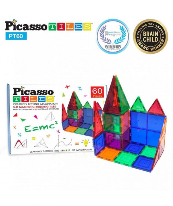 Set PicassoTiles - 60 Piese Magnetice De Construcție Colorate, forme geometrice magnetice, constructii magnetice, cifre magnetice, puzzle magnetic, jocuri educative