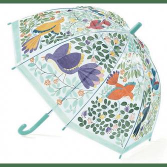 Umbrelă Djeco flori și păsări, umbrela cocheta, umbrela rezistenta copii, umbrela cu pasari, umbrela calitativa, accesorii de ploaie