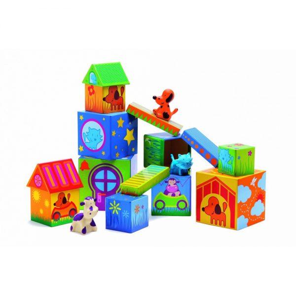 Cuburi de construit cu animale Cubanimo Djeco, jocuri djeco, cuburi copii, cuburi bebe, constructii copii mici, joc educativ, cuburi si animale