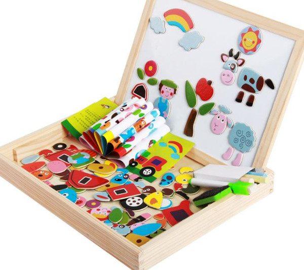 Tabla magnetica din lemn cu 2 fete si puzzle, carioca și guma de sters, set magnetic cu tabla, tabla cu doua fete, joc educativ