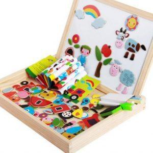 Tabla magnetica din lemn cu 2 fete si puzzle, carioca si guma de sters