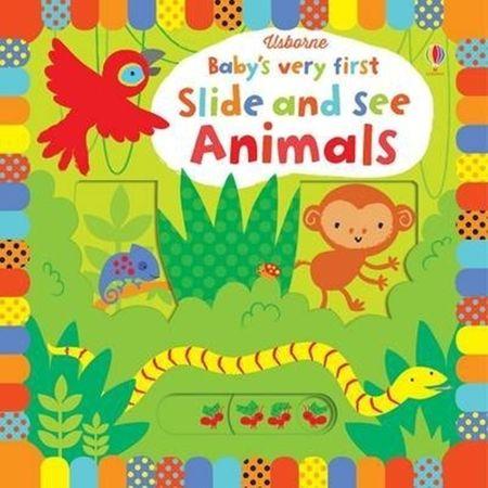 Baby's very first Slide and See Animals, carti usborne, carti in limba engleza, carti gliseaza si vezi, carti cartonate bebe, carte animale