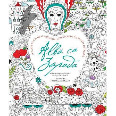 Alba Ca Zapada - Fabiana Attanasio, carte de colorat adulti, carte de colorat copii mari, editura dph, povestea albei ca zapada, coloreaza personaje povesti, carti educative, reduceri carti