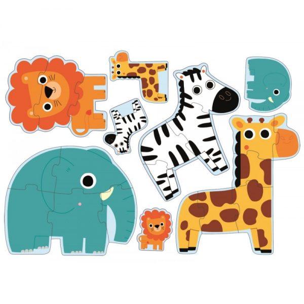 Puzzle progresiv Djeco - in jungla, puzzle bebe, puzzle lemn animale, puzzle copii mici, puzzle din doua trei piese, djeco franta