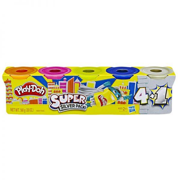 Super set de plastelina Play-Doh 4 +1 (Silver) - Hasbro, plastelina calitativa, set plastelina play doh, plastelina argintie, set 5 cutii plastelina